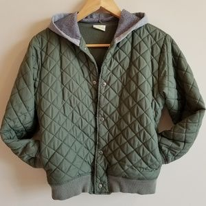 Boy's L (10-12) Quilted Snap-up Hoodie Jacket